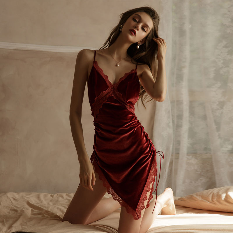 Velvet Red Nightdress Summer Elegant Luxury Sexy  Female Beauty Back Lace Silky Dress with Panty Sleeping Dress