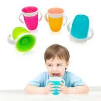360 grados se puede girar bebé aprendizaje taza de beber con doble manija tapa abatible a prueba de fugas taza mágica niños tazas de agua botella