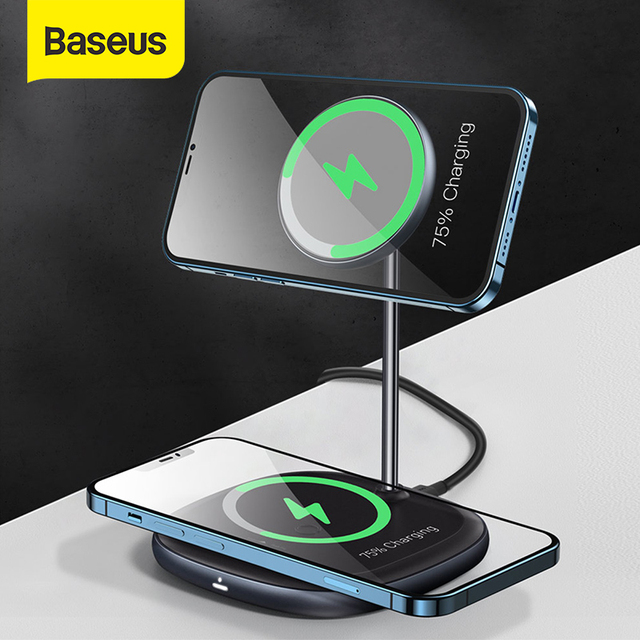 Baseus Magnetic Wireless Charger For iPhone 12 Pro Max Desktop Phone Stand Wireless Charger For Airpods Xiaomi Samsung 1