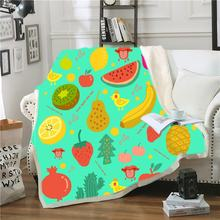 Фланелевое Одеяло в виде клубники/банана/киви/арбуза цветное