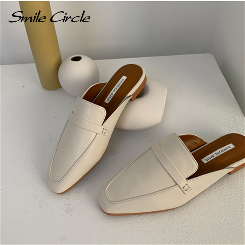 Smile Circle Summer Women Flat Shoes Slip-On Loafers Mules Flip Flops Minimalism Pointed Flat Heel Slipper Ladies sandals 1