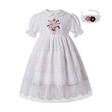 Pettigirl toptan üst sınıf dantel bebek yaka gelinlik beyaz nakış kız parti elbise şapkalar çocuk giyim