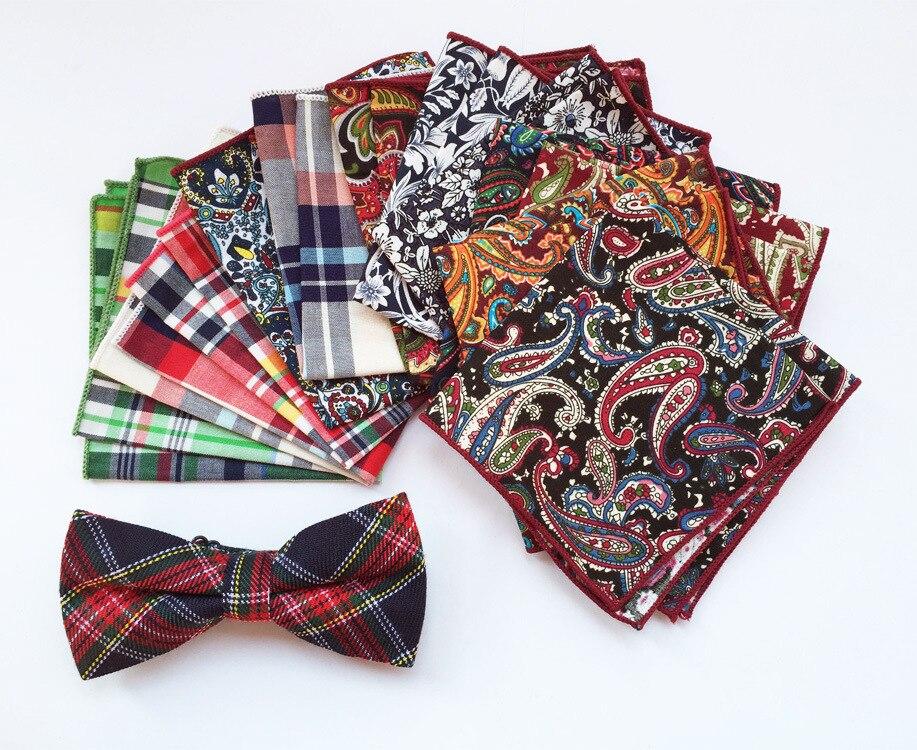 Men's Cotton Plaid Suit Pocket Towel Dress Square Towel Handkerchief Suitable For Dinner Business Occasion