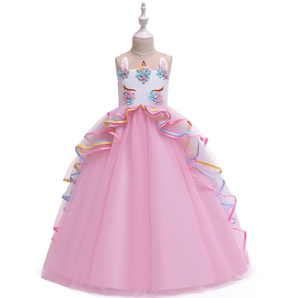 Europe And America AliExpress CHILDREN'S Dress Unicorn Long Formal Dress Gauze Puffy Princess Dress Performance GIRL'S Gown