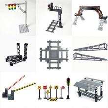 Rails de Train de ville, mini lampes de signalisation, modèle trein, feux de circulation, bloc de construction, Station de Train de ville