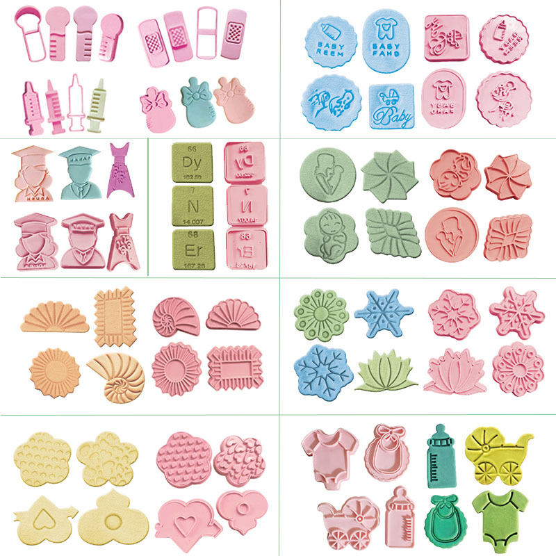 9 Styles 4Pcs/Lot Cookie Cutter Biscuit Sugar Mold Baking Sugar Chocolate Fondant Party Mould For Cupcake Cake Decorating Tools