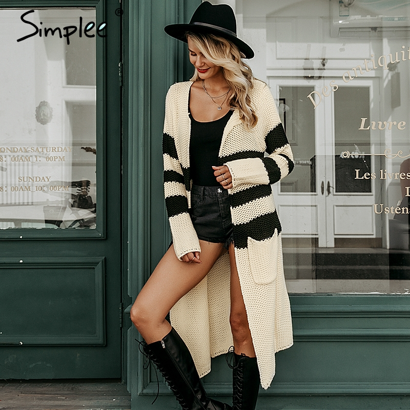 Simplee Vintage striped knitted cardigan S19ST0687