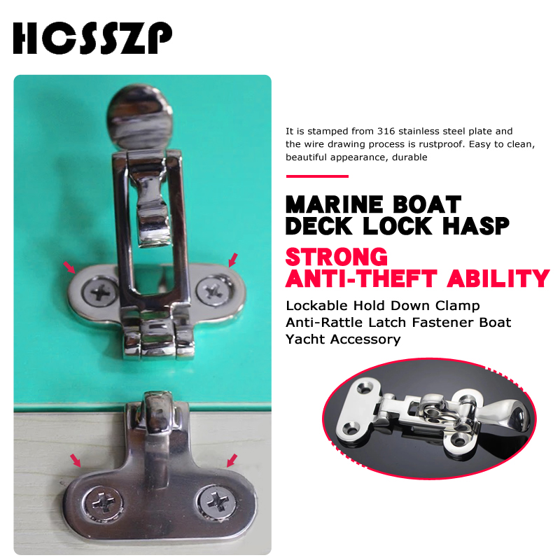 Image 2 - 2 Pcs Marine Boat Deck Lock Hasp 316 Stainless Steel Lockable Hold Down Clamp Anti Rattle Latch Fastener Boat Yacht Accessory-in Marine Hardware from Automobiles & Motorcycles