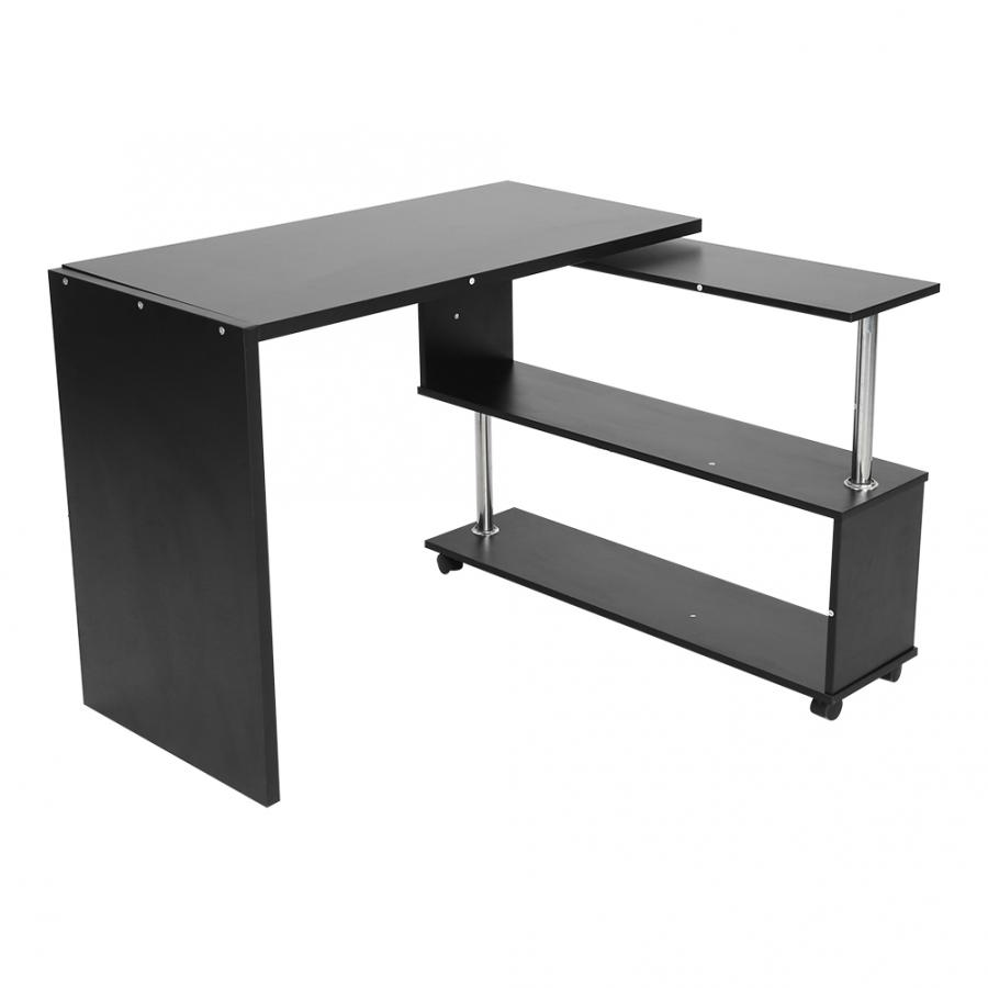 360 Degree Rotatable Adjustable Corner Computer Office Desk With Book Shelves Home Laptop Table Corner Office Table