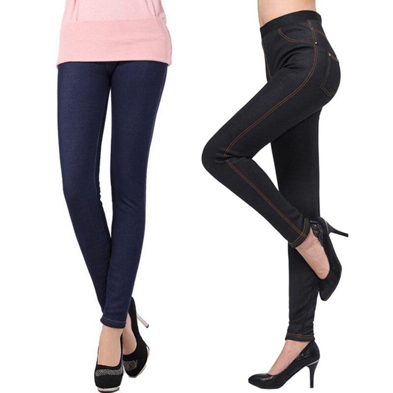 PUIMENTIUA 2019 Winter Jean Women Fleeces Inside Thickening  Faux Denim Pencil Pant Warm Trouser Female Snow Jean Pant Plus Size