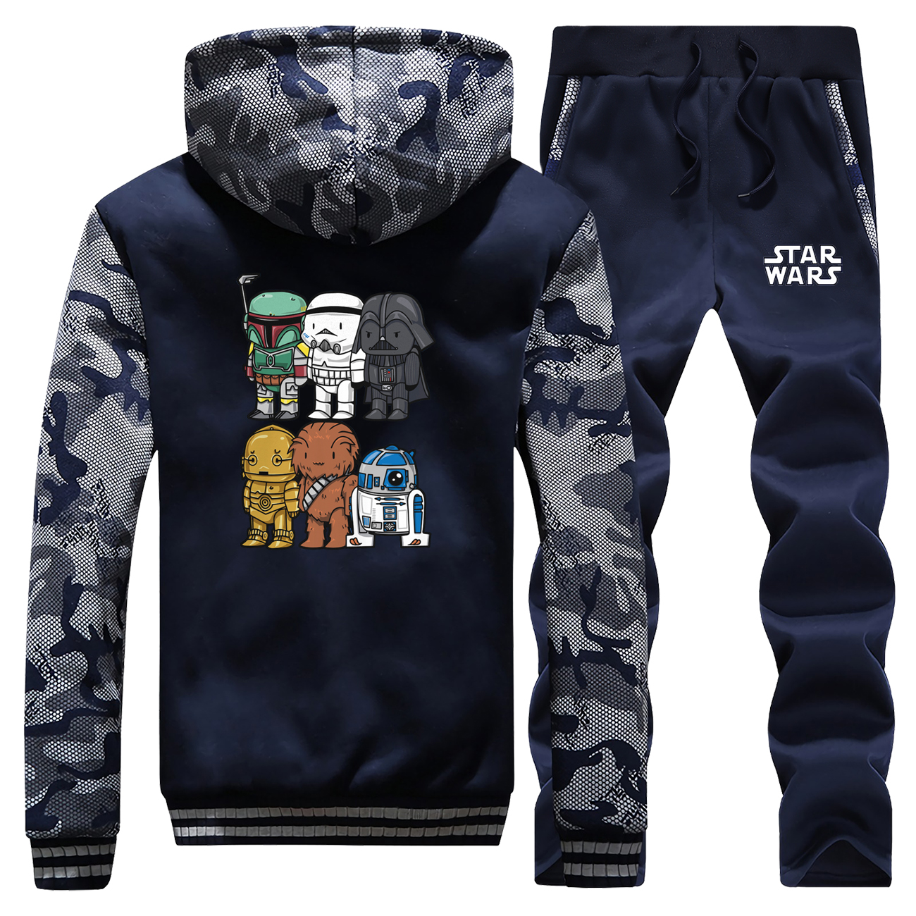 Star Wars Stormtrooper Winter Hot Sale Streetwear Camouflage Mens Hooded Coat Thick Fashion Suit Warm Jackets+Pants 2 Piece Set