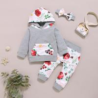 PatPat 2020 New Spring and Autumn Allover Hoodie and Pants with Headband Set For 6 24M Baby Girl Clothing Sets
