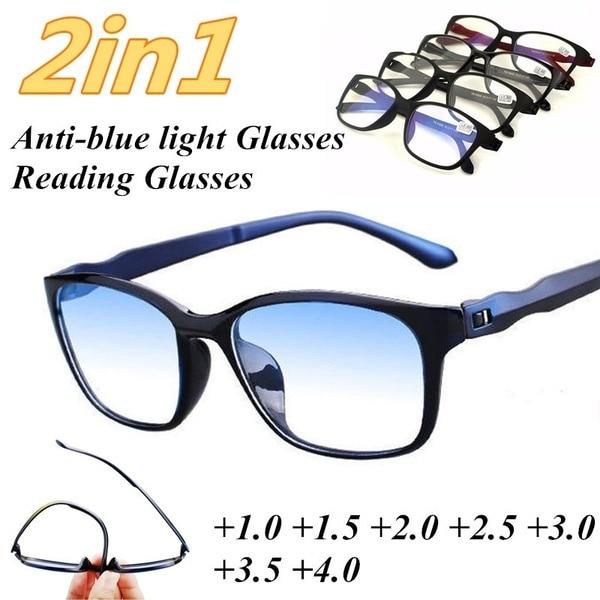 Очки для чтения ZUEE для мужчин, очки для дальнозоркости с защитой от синего излучения, компьютерные очки против усталости, с + 1,5 + 2,0 + 2,5 + 3,0 + 3,5 +...