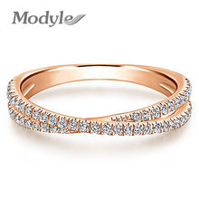 Vagzeb Rose Gold Color Endless Beauty Twisting Wave Cubic Zircon Finger Ring for Women Engagement Jewelry Gift()