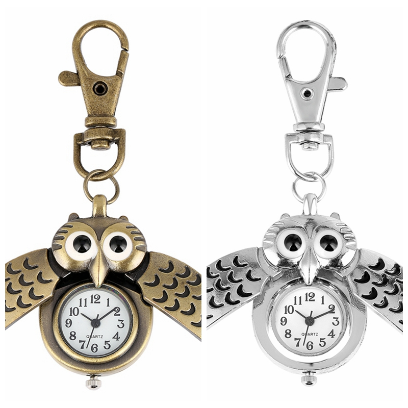 Vintage Bronze Cute Owl Keychains Pocket Watch Fob Chain Key Chains Flip Case Hour Clock For Men Women Animals Pocket Watches
