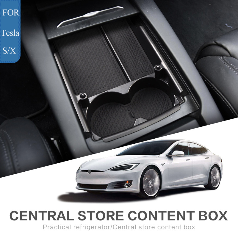 superior caixa de conteudo central do carro caixa de armazenamento braco para tesla model s modelo