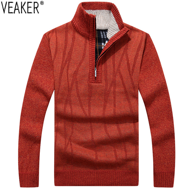 2019 Autumn New Men's Casual Sweater Coat Pullovers Male Winter Slim Fit Stand Collar Sweatercoat Knitted Pullover M-3XL