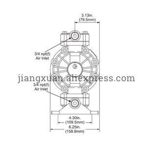 """Image 5 - BML 15P 57L/Min1/2 """"PP malzeme PTFE plastik hava ile çalışan pnömatik diyafram pompası çift yönlü sıvı BML 15 diyaframlı pompa"""