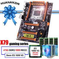 Famosa marca HUANANZHI deluxe X79 placa base con ranura M.2 CPU Intel Xeon E5 1650 V2 con refrigerador RAM 32G (4*8G) 1600 REG ECC
