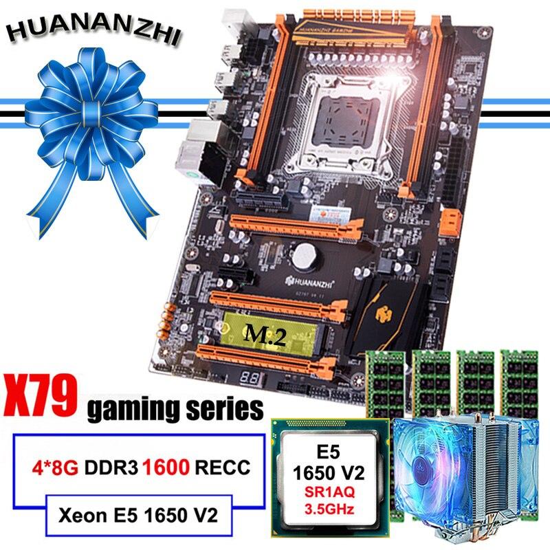 Placa-mãe com Slot v2 com Refrigerador Marca Famosa Huananzhi Deluxe M.2 Cpu Intel Xeon e5 1650 Ram 32g 4*8g 1600 Reg Ecc X79