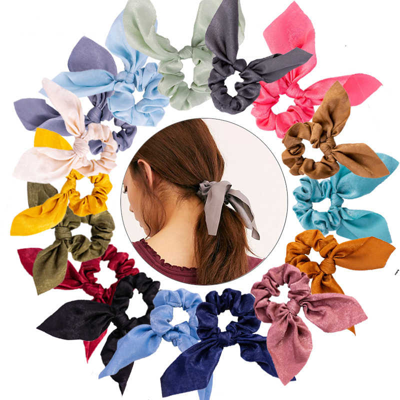 New Women Fashion Ribbon Hair Scrunchies Bow Streamers Girl Hair Bands Scrunchies Girls Elastic Ponytail Rope Hair Accessories