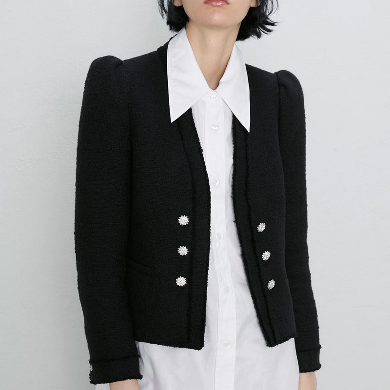 2019 Fashion Women Spring Autumn Double Breasted Poplin Designer Blazer Jackets Female Black V-neck Long Sleeve Patchwork Coats