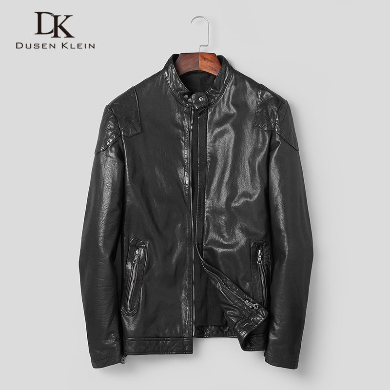Men Genuine Leather Jacket Real Sheepskin Jackets Casual Short Black Pockets 2020 Autumn New Jacket For Man Washed Leather S1098