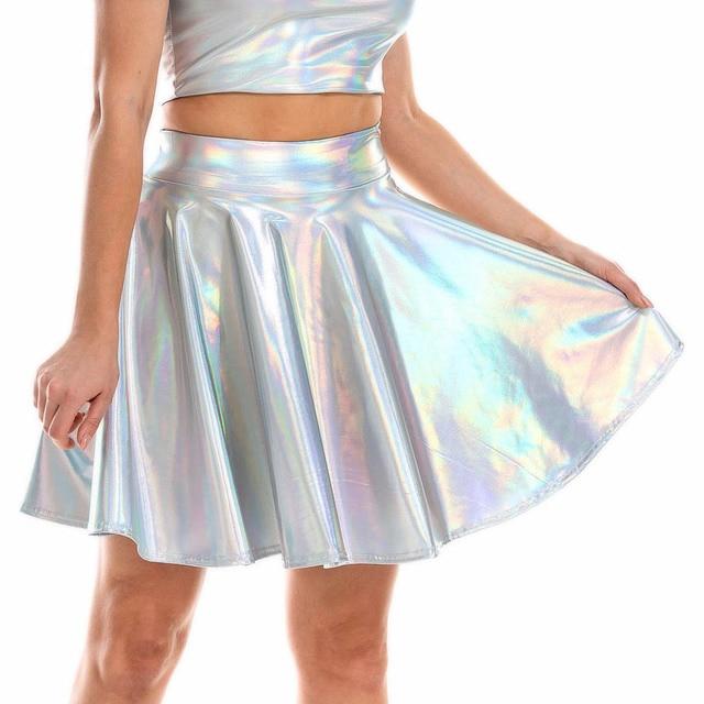 Summer Sexy Laser High Waist Mini PU Leather Skirt Club Party Dance Shiny Holographic Skirts Harajuku JK Metallic Pleated Skirts 6