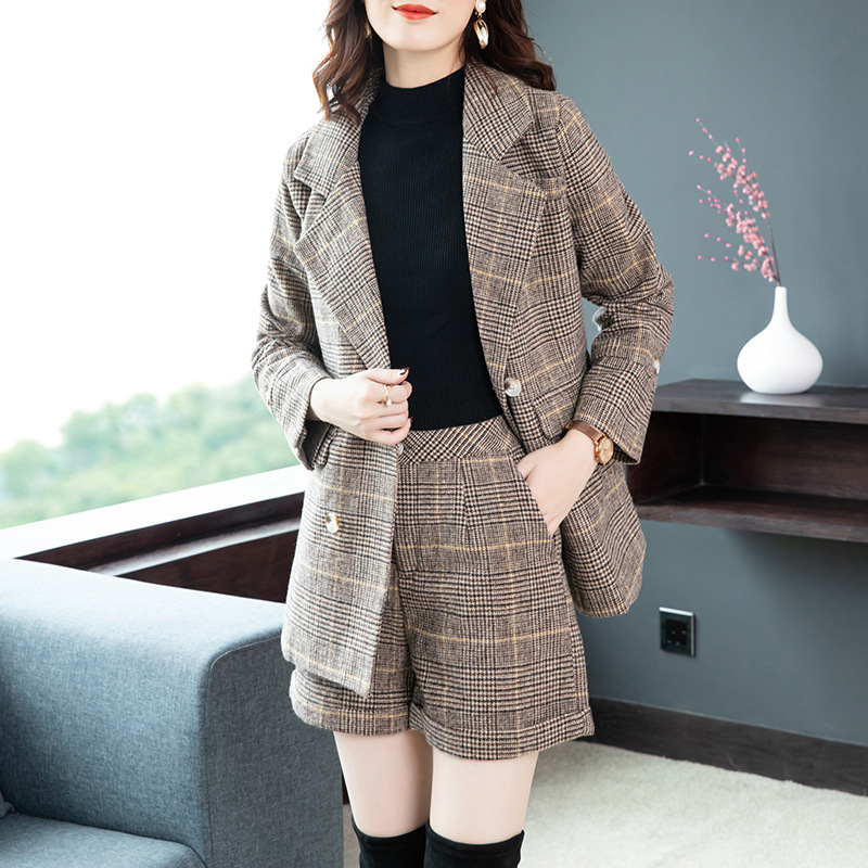 2019 New Women's Autumn And Winter Two-piece Suit Temperament Woolen Coat Plaid Blazer Shorts Casual Fashion Set High Quality