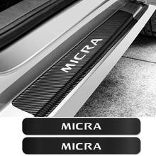 4 pçs para nissan micra porta do carro placa scuff sill adesivos anti scratch protetor de fibra carbono auto decalques carro tuning acessórios