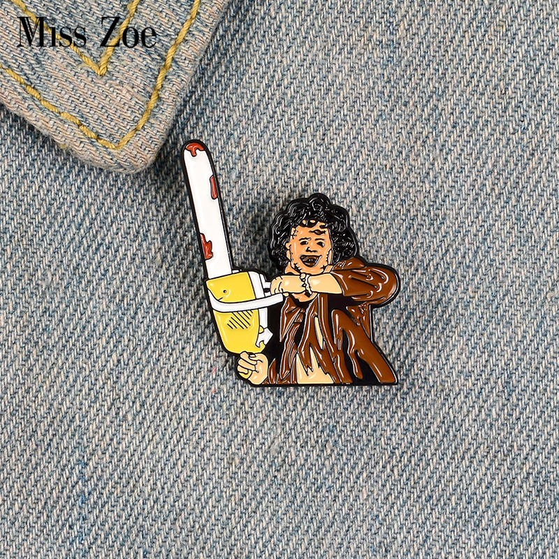 LEATHERFACE Enamel Pin Custom Chainsaw Killer Brooches for Shirt Lapel Bag Thriller Movie Badge Punk Jewelry Gift for Friends image