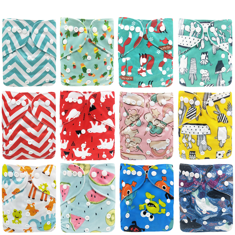 Baby Reusable Cloth Diaper Waterproof Printed Diapers One Size Pocket Baby Nappies Suede Cloth Inner Diaper Cover for 3-15kg | Happy Baby Mama