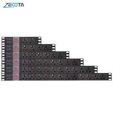 Toma de corriente PDU para armario de red, enchufe Universal de aleación de aluminio 15A, 2/4/6/8/10/12 vías, interruptor de rotura, cable de extensión de 2m