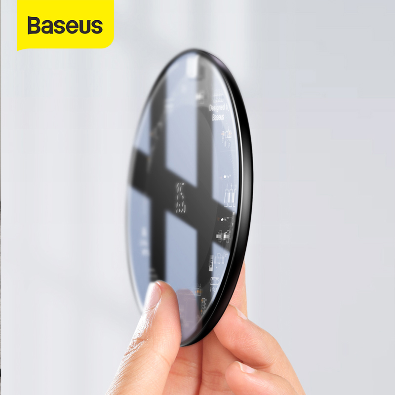 Baseus 15W Qi Wireless Charger For IPhone XS XR XS Max X 8 Transparent Glass Wireless Charging Pad For Samsung Galaxy S10 S9 S8