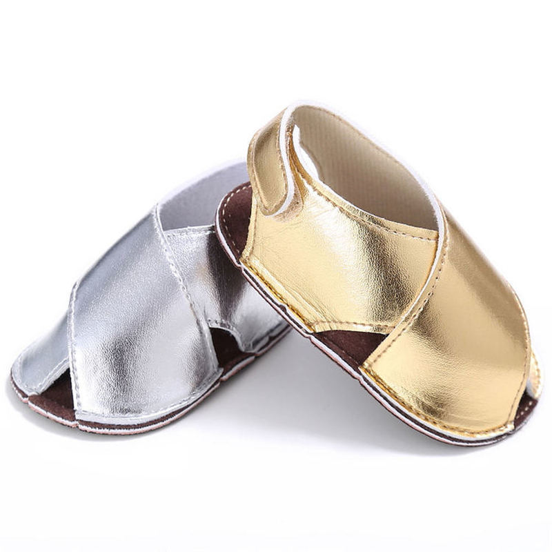 Baby Sandals Casual Toddler Newborn Soft Sole PU Leather Flat Infant Anti-Slip Gift First Walkers Gold Silver