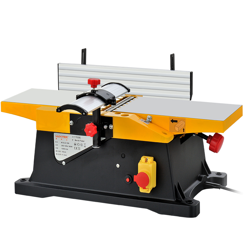 AC220V1800W 6 Inch 0-3mm Small Bench Wood Planer,high Speed Woodworking Planer,can Be Connected To Vacuum Cleaner,DIY Processing