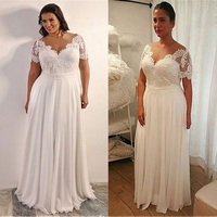 Plus Size Short Sleeves Lace Chiffon Long Wedding Dresses Sweep Train Pleated Custom Made Bridal Gowns Formal Vestidso De Mariee