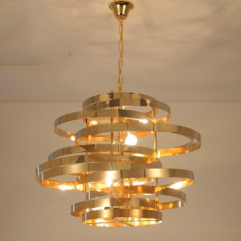 Простая гостиная, Современная Золотая люстра, творческая личность, атмосферная столовая лампа, Северная Европа спальня, кабинет