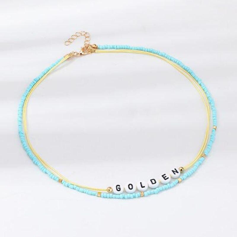 Creative Letter GOLDEN Necklace Bohemian Handmade Beads Choker Necklace Women Fashion Collar Necklaces Party Jewelry in Choker Necklaces from Jewelry Accessories