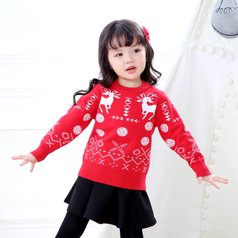 Christmas-2019 Autumn And Winter New Products First CHILDREN'S Sweater Girls Versatile Sika Deer Jacquard Double Layer Sweater
