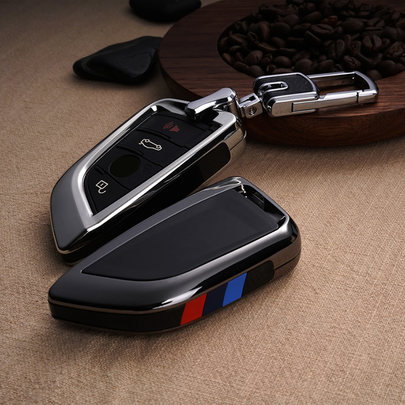 Plating Remote Controller Key Bag Holder Fit Bmw Blade KeyChain Car Key Cover Case For BMW X1 X5 X6 F15 F16 F48 BMW 1 / 2 Series