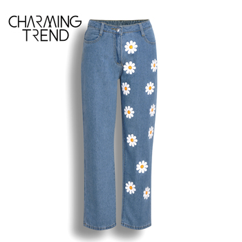 Fashion Chic Woman jeans high waisted 2020 Straight cute female denim long pants trousers vintage daisies printed women jeans