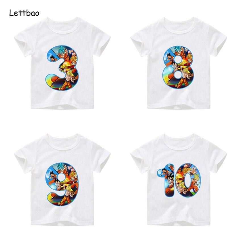 Boys And Girls Goku Birthday Number T Shirt Kids Happy Birthday Anime Tops Children's Birthday Gift,Dropshipping 2-12T