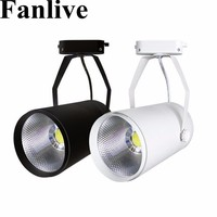 Fanlive 20 pçs 15w 20 30 cob trilho holofotes lâmpada leds rastreamento dispositivo elétrico luzes do ponto lâmpada para loja shopping exposição