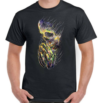 Praying Skull Mens T-Shirt Biker Goth Gothic Rock Music Grim Reaper Skeleton