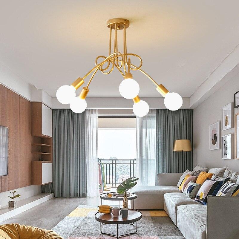 Modern Minimalist Indoor Living Room Chandelier Golden Iron Creative Bedroom Study Living Room Chandelier