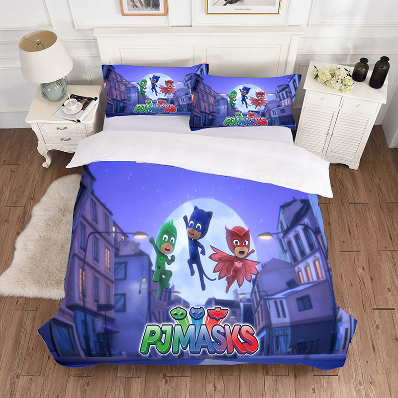 PJ Masks Cartoon Children's Room Bedding Soft And Comfortable Polyester 3d Quilt Cover Pillowcase Travel Camping Outdoor Games