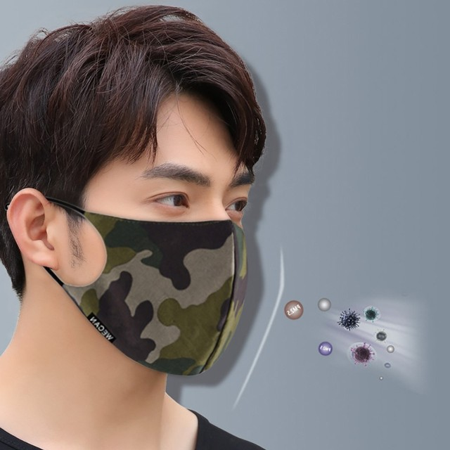 Outdoor Reusable Protective Pm2.5 Filter Camouflage Mouth Mask Dust Face Mask Windproof Mouth-muffle Bacteria Proof Flu Mask AP4 1