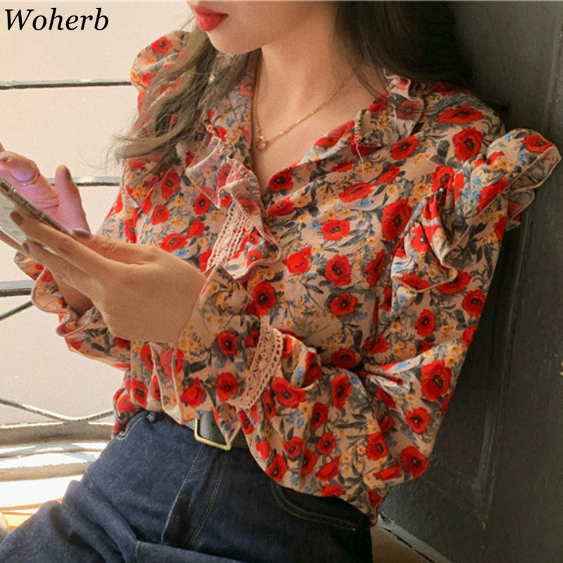 Woherb Ruffles V Neck Long Sleeve Blouse Female Floral Print Lace Design Loose Shirts Women Vintage Fashion Korean New 91557