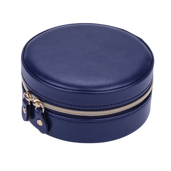 Portable Earring Storage Carrying Case Round Jewelry Box Travel Zipper PU Leather Jewellery Packaging Display